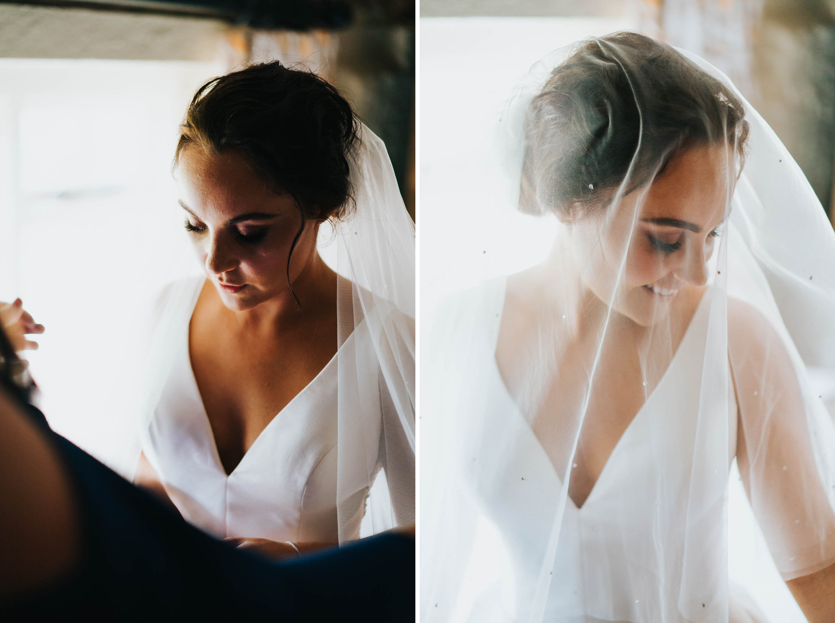 Hampshire wedding photography of bride in veil