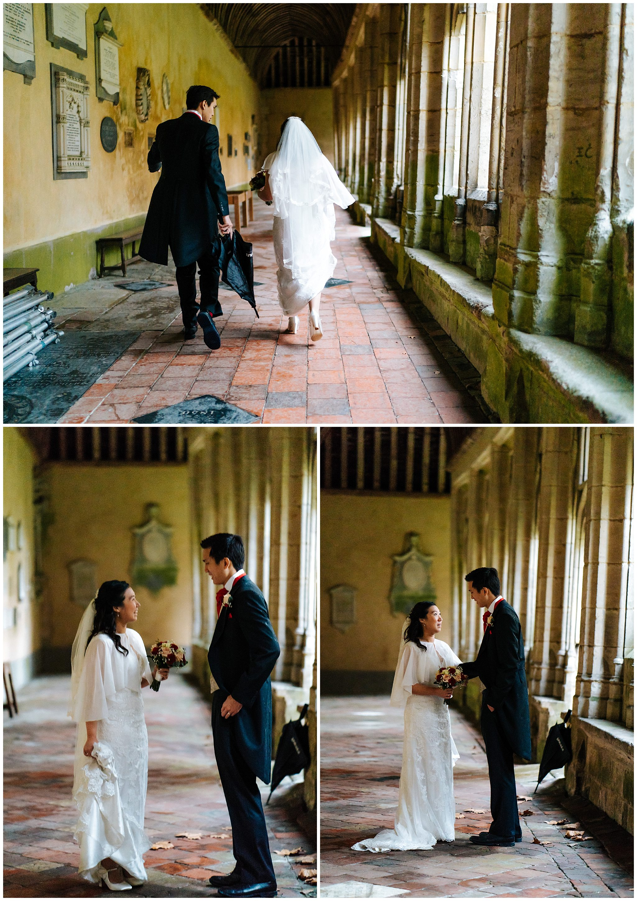 winchester college cloisters wedding photo